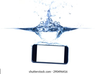 smartphone in water and splash on white background.