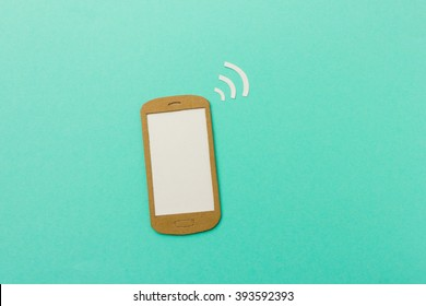 Smartphone with wifi signal and blank screen for your text