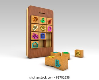 smartphone with wood's cubes of colorful application icons