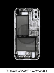 Smartphone X-ray on black.