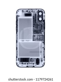 Smartphone X-ray on white.