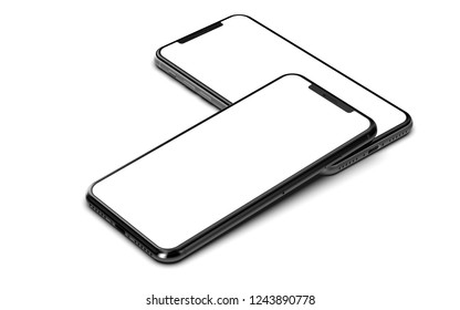 Smartphones isolated on white background.
