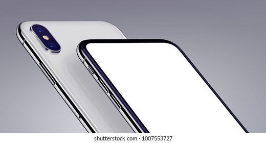 Smartphones mockup perspective close-up. New modern white rotated perspective view smartphones both sides on gray background. High-quality and detailed realistic smartphone 3D illustration.