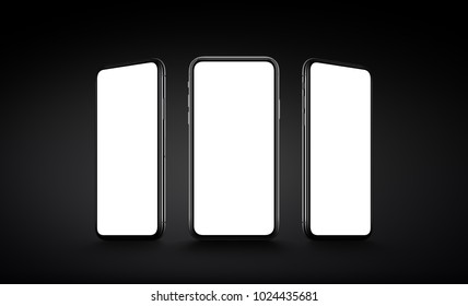 Smartphones multi screen mockup. Several front view smartphones with blank white screens on dark black background. 3D illustration.