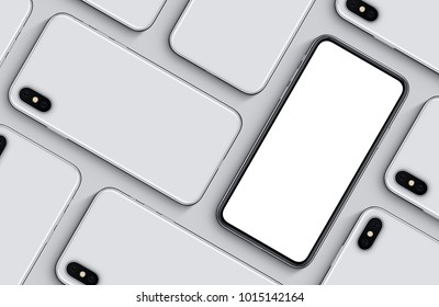 Smartphones top view flat lay mockup. New frameless smartphones back side and front side with blank white screen on grey background. 3D illustration.
