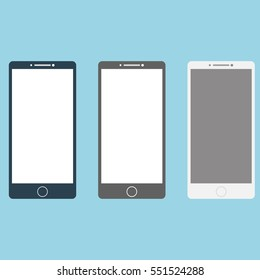 Smartphones white, black, grey set. Raster illustration