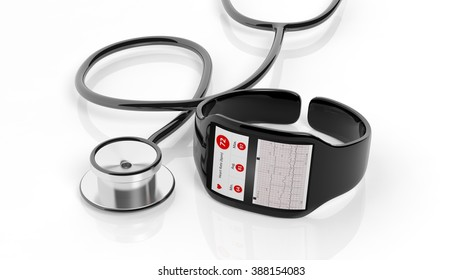 Smartwatch with cardio app on screen and stethoscope, isolated on white background.