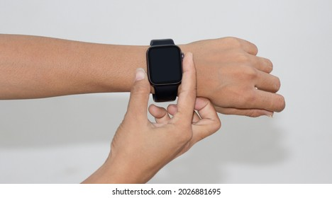 Smartwatch in a human hand