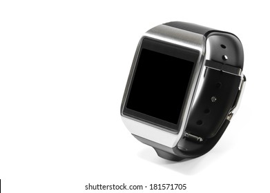 Smartwatch in perspective with black screen as the concept of portable technology