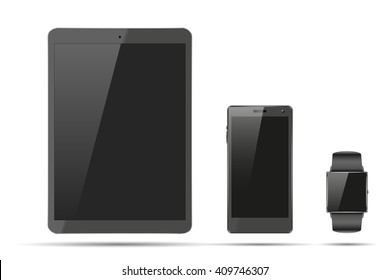 Smartwatch, tablet PC and touchscreen smartphone. Mock-up design. Illustration isolated on white background