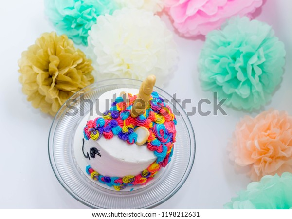 Fine Smash Cake 1St Birthday Unicorn Cake Stock Photo Edit Now 1198212631 Funny Birthday Cards Online Elaedamsfinfo
