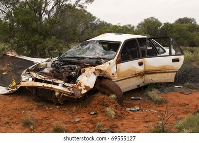 Smashed car in the Desert
