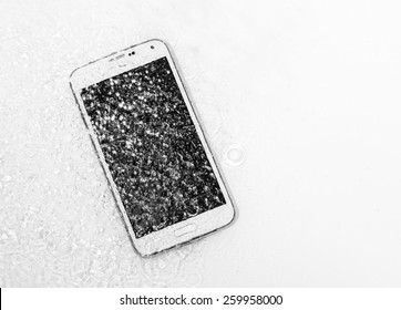 Smashed, damaged, destroyed phone, phablet
