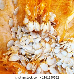 Smashed halloween pumpkin cracked open exposing seeds and pulp