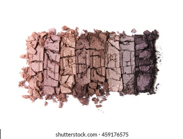 Smashed neutral eye shadow make up palette isolated on a white background