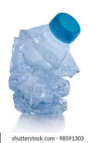 Smashed plastic water bottle isolated on white background