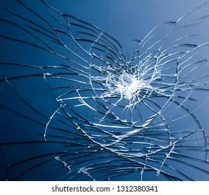 Smashed Screen Vandalised Broken Glass Close Up