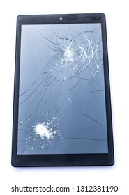 Smashed Screen Vandalised Broken Glass Close Up Tablet Phone