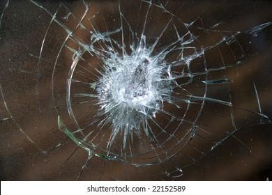 Smashed windshield.