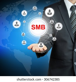 SMB (or Small and Medium-sized Businesses) sign on businessman hand