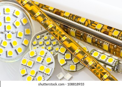 SMD LED-strip cooled and un-cooled also G4 LED-bulbs and separate chips