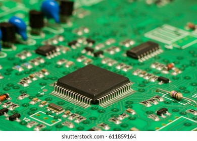 smd printed electronic circuit board with micro controller and components, shallow dof