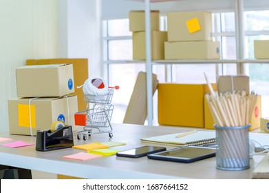 SME or Small and medium-sized enterprises Computer, Online shopping and ecommerce via internet concept.