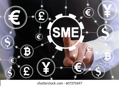 SME. Small and medium-sized enterprises financial concept. KEY TO SUCCESS. Man touched gear sme icon on virtual screen on background of network currencies. Finance money business technology