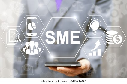 SME or Small and medium-sized enterprises smartphone web business KEY TO SUCCESS concept