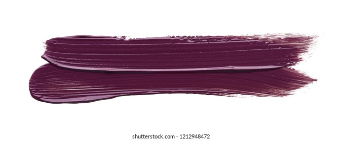Smear of burgundy red lipstick or acrylic paint isolated on white background.