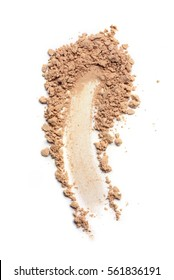 Smear of crushed beige face powder as sample of cosmetics product  isolated on white
