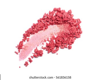 Smear of crushed pink eyeshadow as sample of cosmetics product  isolated on white