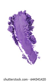 Smear of crushed purple eyeshadow as sample of cosmetic product isolated on white background