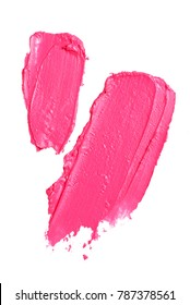 Smear paint of pink  lipstick cosmetic product isolated on white background. Macro shot