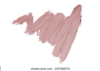 Smear and texture of lipstick or acrylic paint isolated on white background. Stroke of lipgloss or liquid nail polish swatch smudge sample. Element for beauty cosmetic design. Dark red color