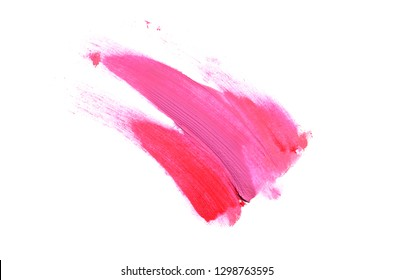 Smear and texture of lipstick or acrylic paint isolated on white background. Stroke of lipgloss or liquid nail polish swatch smudge sample. Element for beauty cosmetic design. Magenta color