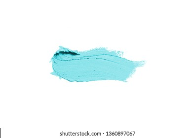 Smear and texture of lipstick or acrylic paint isolated on white background. Stroke of lipgloss or liquid nail polish swatch smudge sample. Element for beauty cosmetic design. Light blue color