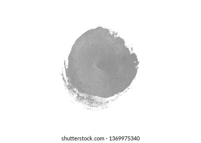 Smear and texture of lipstick or acrylic paint isolated on white background. Stroke of lipgloss or liquid nail polish swatch smudge sample. Element for beauty cosmetic design. Gray color