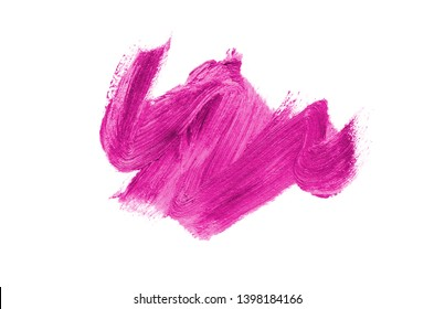 Smear and texture of lipstick or acrylic paint isolated on white background. Stroke of lipgloss or liquid nail polish swatch smudge sample. Element for beauty cosmetic design. Pink color