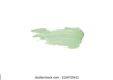Smear and texture of lipstick or acrylic paint isolated on white background. Stroke of lipgloss or liquid nail polish swatch smudge sample. Element for beauty cosmetic design. Dark green color
