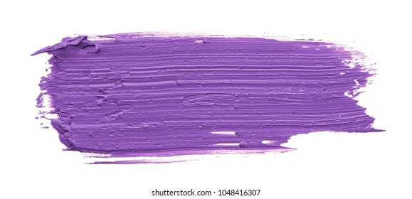 Smear and texture of purple lipstick or acrylic paint isolated on white background.