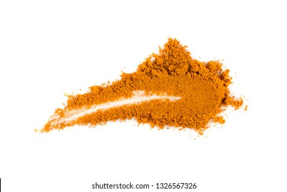 Smeared Indian Spices and Herbs Powder with Cumin, Curry, Curcuma, Turmeric and Chilli Pepper. Orange Seasoning Powders Mix Isolated on White Background Top View