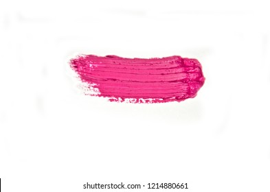 smeared lipstick smear on white background and selective focus