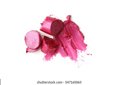 smears of pink lipstick isolated on white