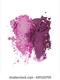 Smears of two crushed purple eyeshadow as sample of cosmetic product isolated on white background