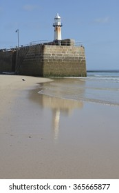 Smeaton's pier, St Ives, Cornwall UK at low tide.