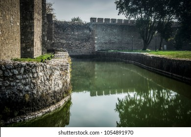 Smederevo, Serbia – October 1st 2016: The moat around the walls of the Smederevo fortress