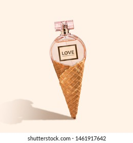 Smell of food. Love. An alternative icecream with the parfume on pink background. Negative space to insert your text. Modern design. Contemporary art. Creative conceptual and colorful collage.