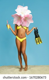Smells like sweets. Female body headed by flowers on blue background. Copyspace. Modern design. Contemporary artwork, collage. Concept of summertime, vacation, resort, mood, beach season.