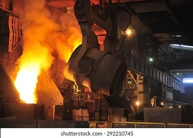 smelting of the metal in the foundry at steel mill